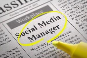 Social Media Manager Jobs in Newspaper. Job Seeking Concept.